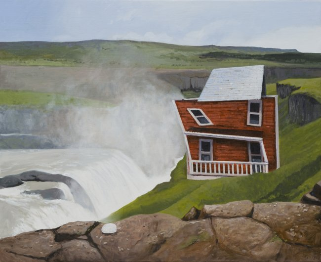 Waterfall House, 2017. Oil on canvas. 81 x 100 cm.
