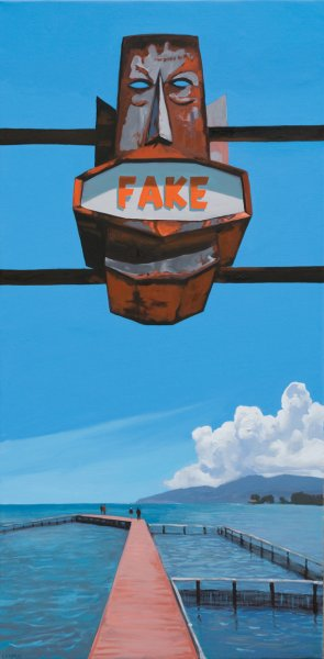 Fake, 2015. Oil on canvas. 75 x 150 cm