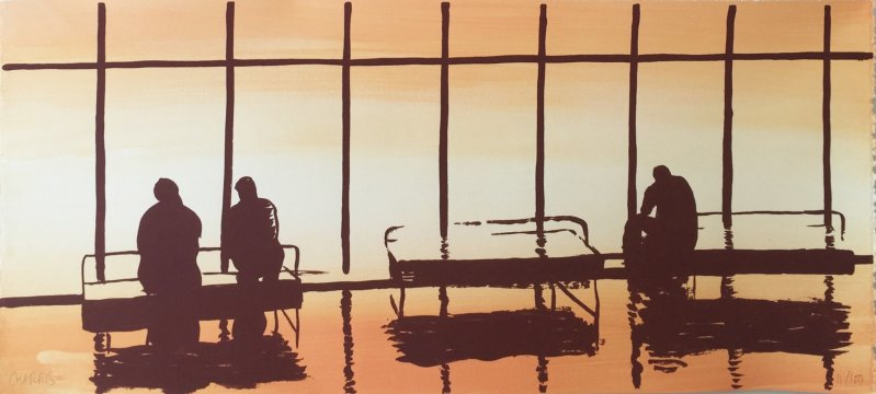 Waiting room of an airport, 2015 (Silkscreen on hand painted paper. 25 x 57 cm.)